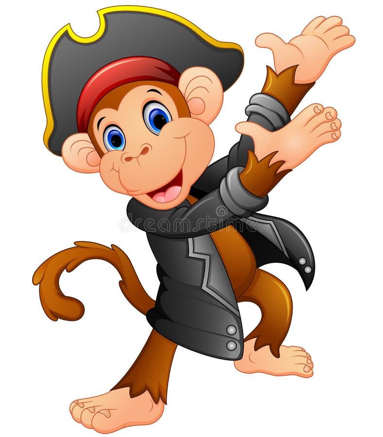 Милый представлять обезьяны пирата иллюстрация вектора