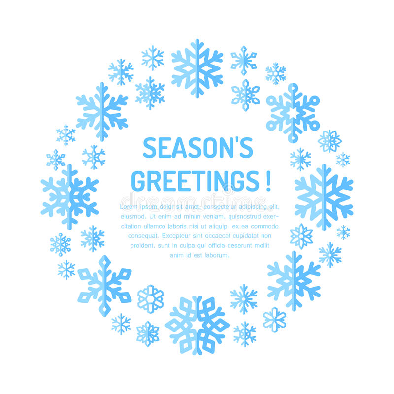 Милый плакат снежинки, знамя праздник приветствиям состава рождества холодный зеленый орнаментирует сезоны красного цвета настоящ иллюстрация штока