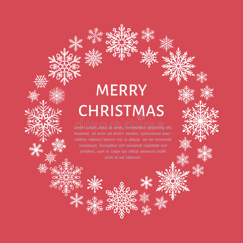 Милый плакат снежинки, знамя Приветствия сезона Плоские значки снега, снежности Славные снежинки для знамени рождества, карточки  иллюстрация вектора