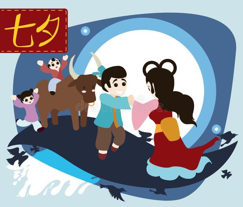 Милый плакат шаржа для того чтобы отпраздновать фестиваль Qixi, иллюстрацию вектора иллюстрация вектора