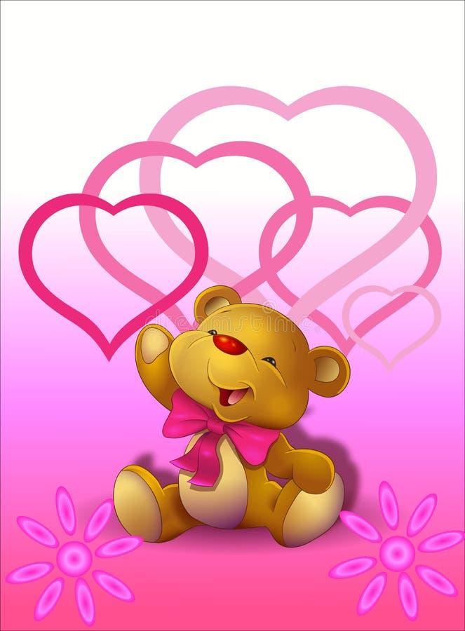 Милый плюшевый медвежонок с сердцами бесплатная иллюстрация