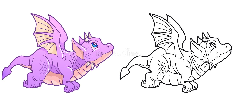 Милый дракон начал свой первый полет иллюстрация штока