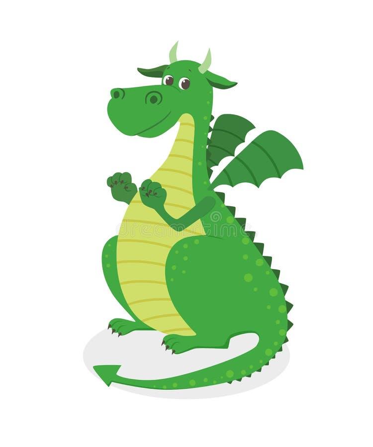 Милый дракон шаржа иллюстрация вектора