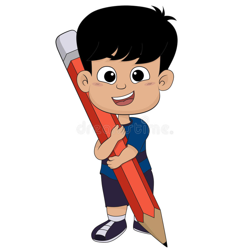 Милый ребенк держа большой карандаш иллюстрация штока