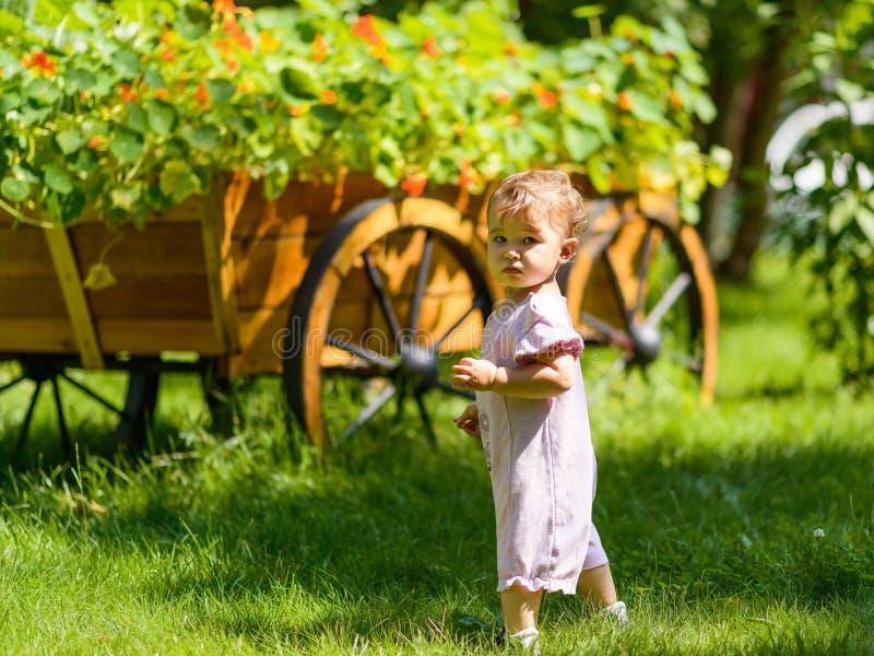 Милый ребёнок в саде стоковое изображение
