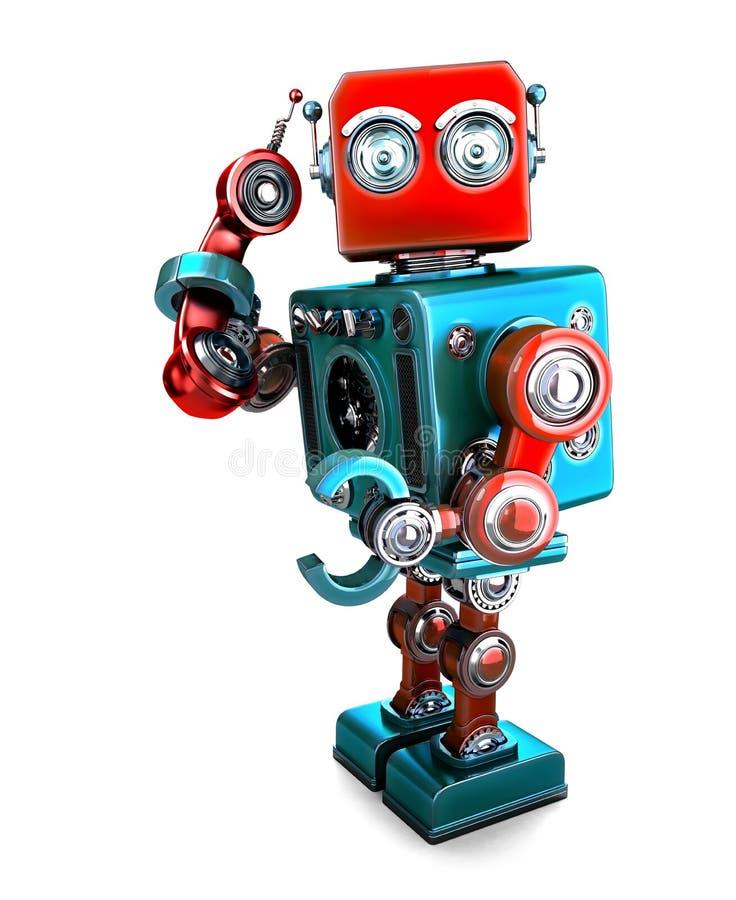 Милый ретро робот 3D с трубкой телефона иллюстрация 3d Содержит путь клиппирования иллюстрация штока