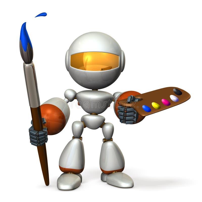 Милый робот имеет большие paintbrush и палитру бесплатная иллюстрация