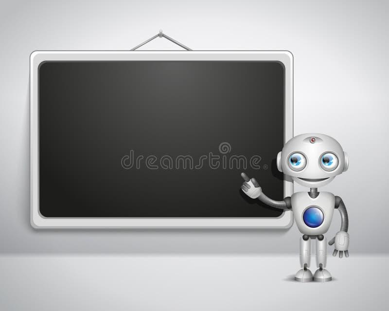 Милый робот на доске иллюстрация вектора