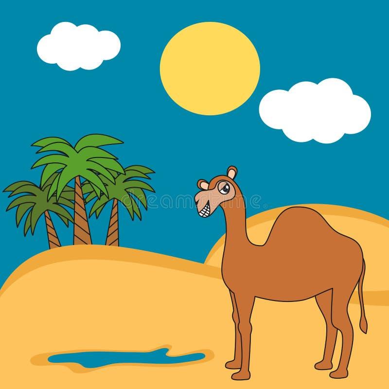 Милый дромадер верблюда шаржа в иллюстрации пустыни смешной иллюстрация вектора