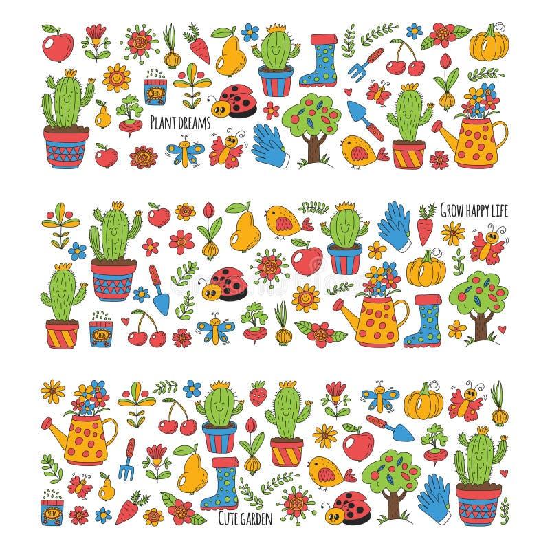 Милый сад с птицами, кактус вектора, заводы, плодоовощи, ягоды, садовничая инструменты, картина рынка сада rubberboots внутри иллюстрация штока