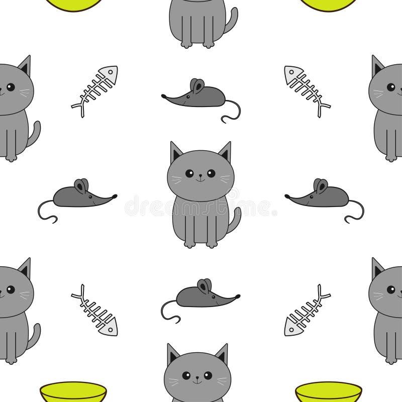 Милый серый кот шаржа Шар, косточка рыб, игрушка мыши Смешной усмехаясь характер Изолированный контур Безшовная предпосылка белиз иллюстрация вектора