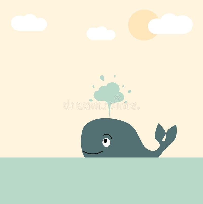 Милый симпатичный кит шаржа в иллюстрации моря пастельной для поздравительной открытки иллюстрация штока