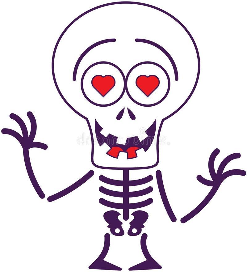 Милый скелет хеллоуина в влюбленности иллюстрация штока