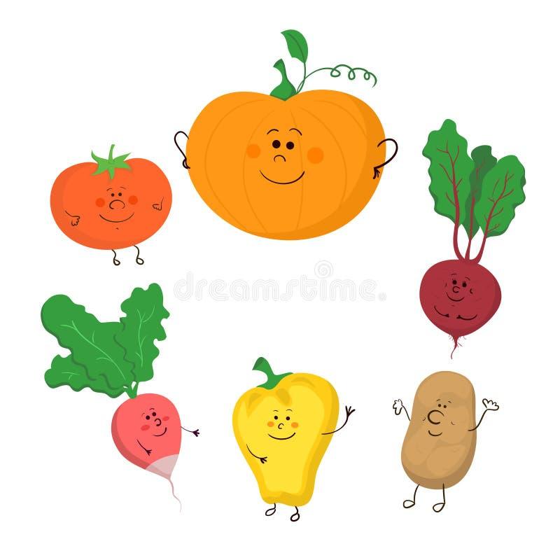 Милый смешной комплект вектора овощей бесплатная иллюстрация