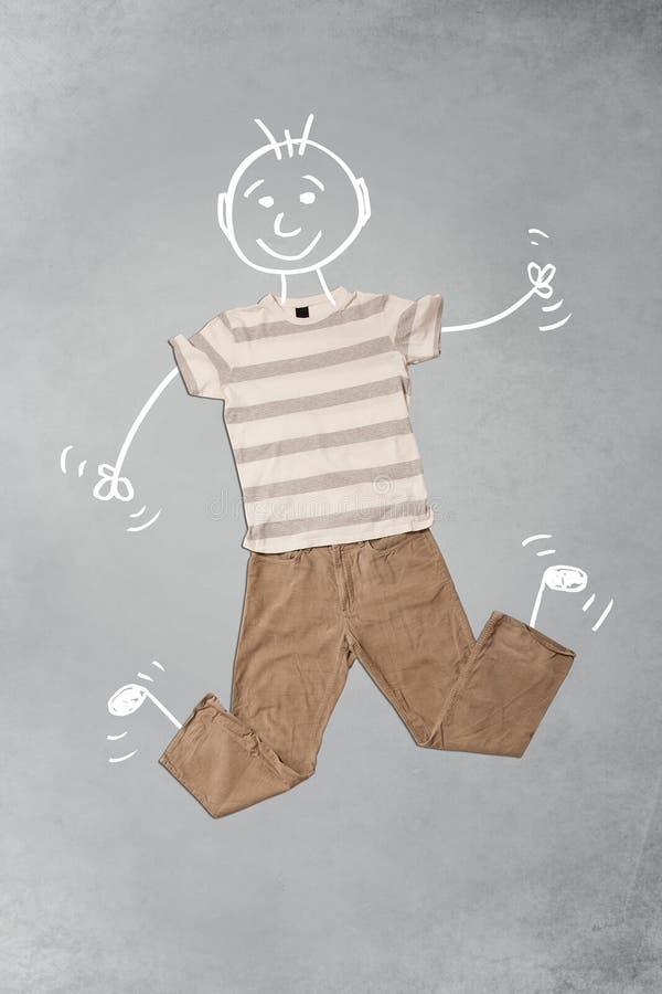 Милый смешной персонаж из мультфильма в вскользь одеждах иллюстрация вектора