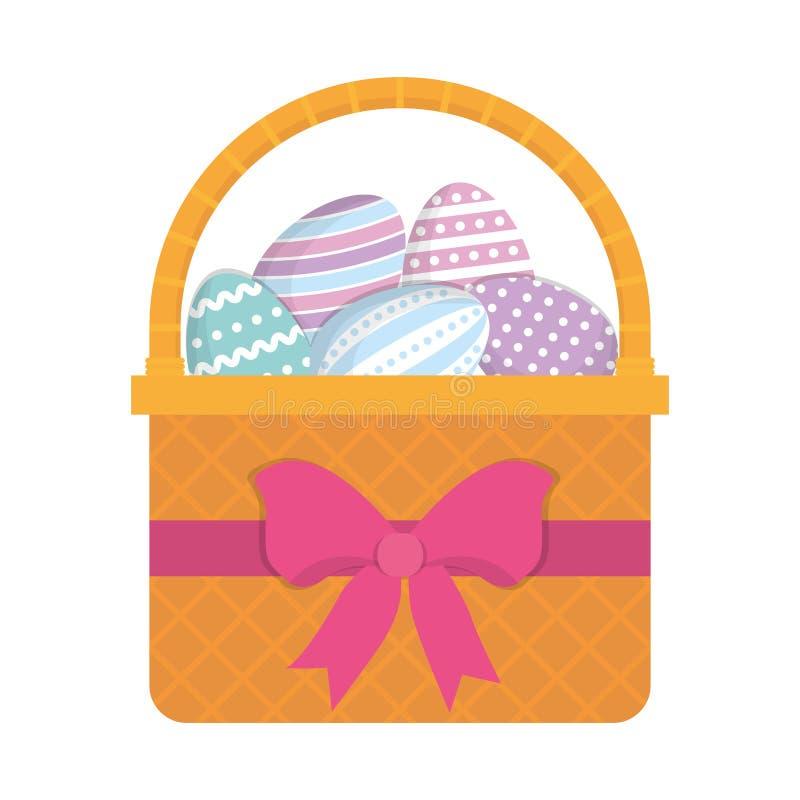 милый смычок пасхального яйца корзины декоративный иллюстрация штока