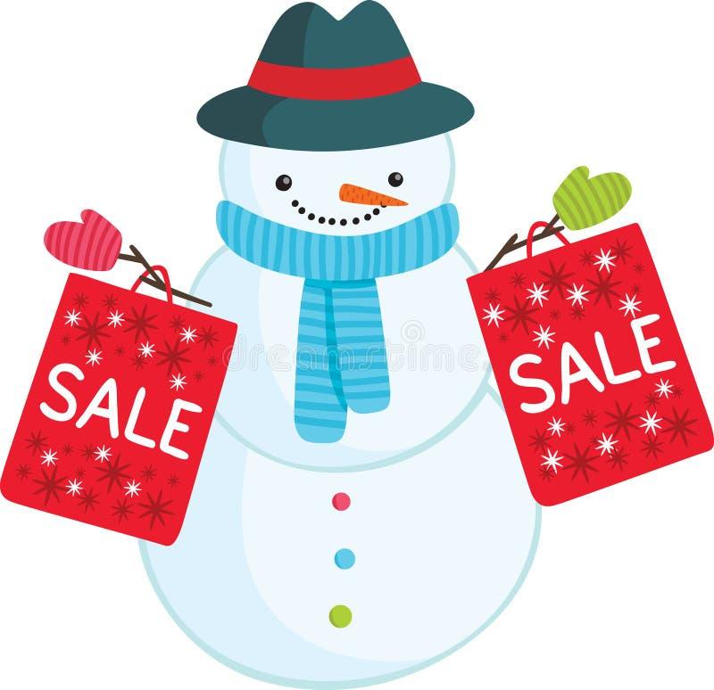 Милый снеговик шаржа с сумками продажи иллюстрация штока