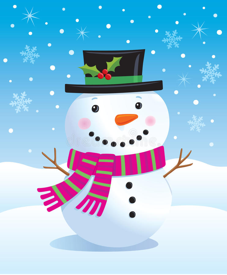 Милый снеговик иллюстрация штока