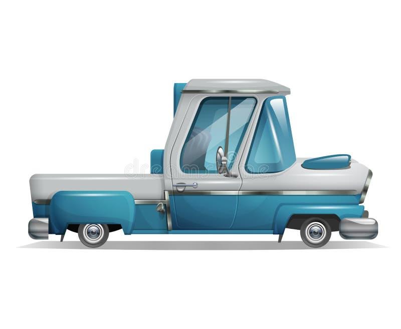 Милый стилизованный ретро грузовой пикап изолированный на белой предпосылке бесплатная иллюстрация