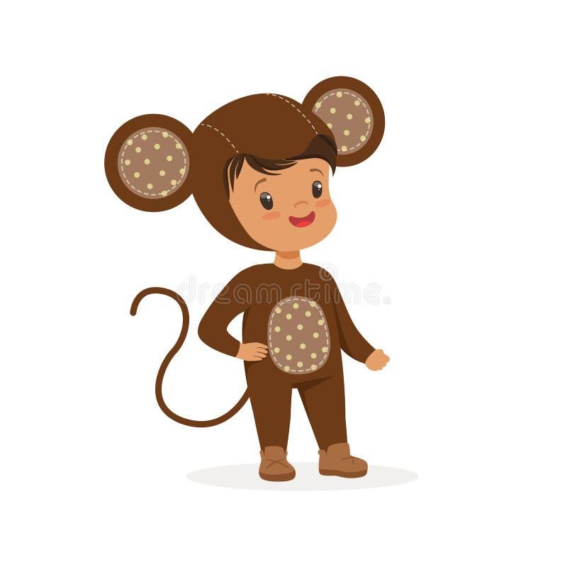 Милый счастливый мальчик одетый как обезьяна, иллюстрация вектора костюма масленицы детей иллюстрация штока
