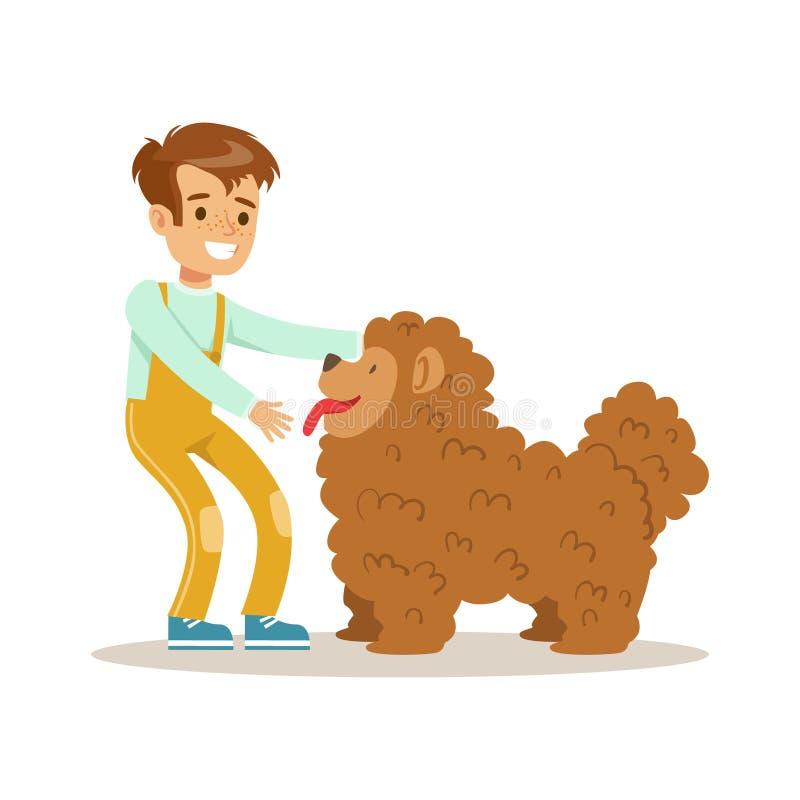 Милый счастливый мальчик petting его меховая собака Красочная иллюстрация вектора персонажа из мультфильма иллюстрация вектора
