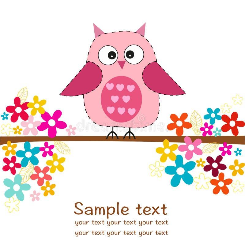 Милый сыч с поздравительной открыткой ливня ребёнка цветков иллюстрация штока
