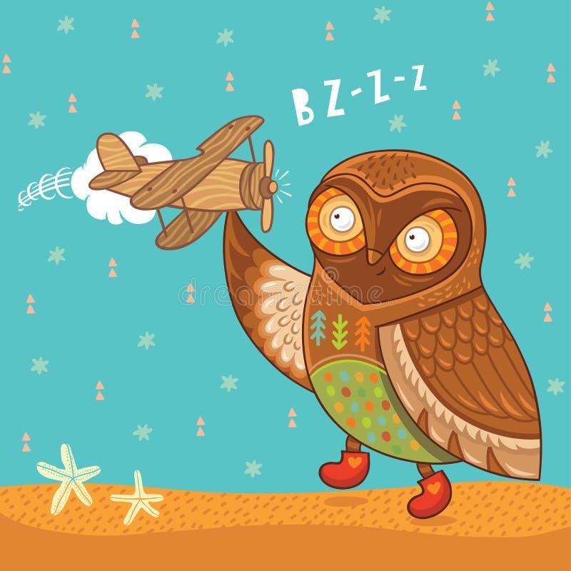Милый сыч шаржа с деревянным самолетом игрушки бесплатная иллюстрация