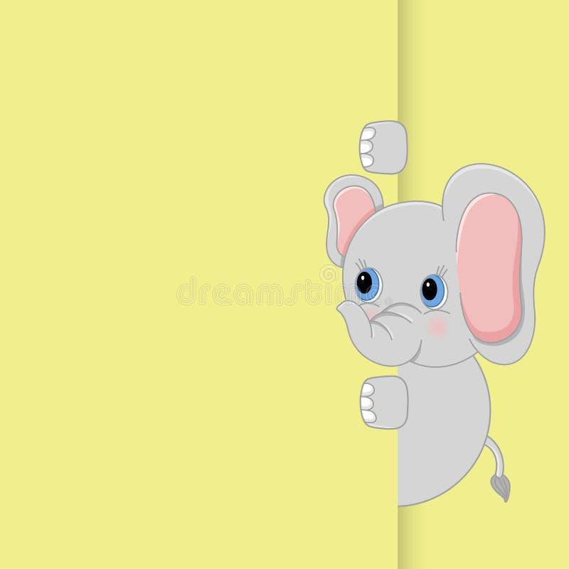 Милый слон младенца peeking вне иллюстрация штока