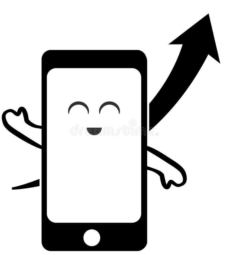 Милый умный значок телефона и восходящая стрелка бесплатная иллюстрация
