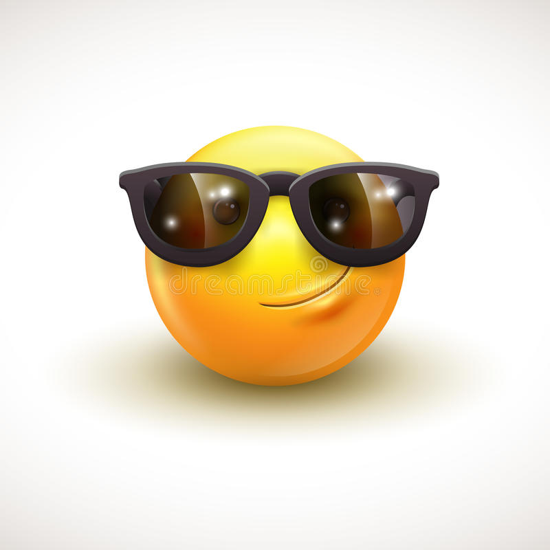 Милый усмехаясь смайлик нося черные солнечные очки, emoji, smiley - vector иллюстрация бесплатная иллюстрация