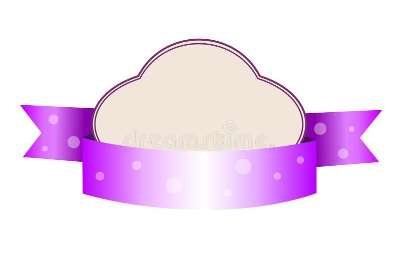 Милый фиолетовый нежный шаблон стиля младенца с знаменем иллюстрация вектора