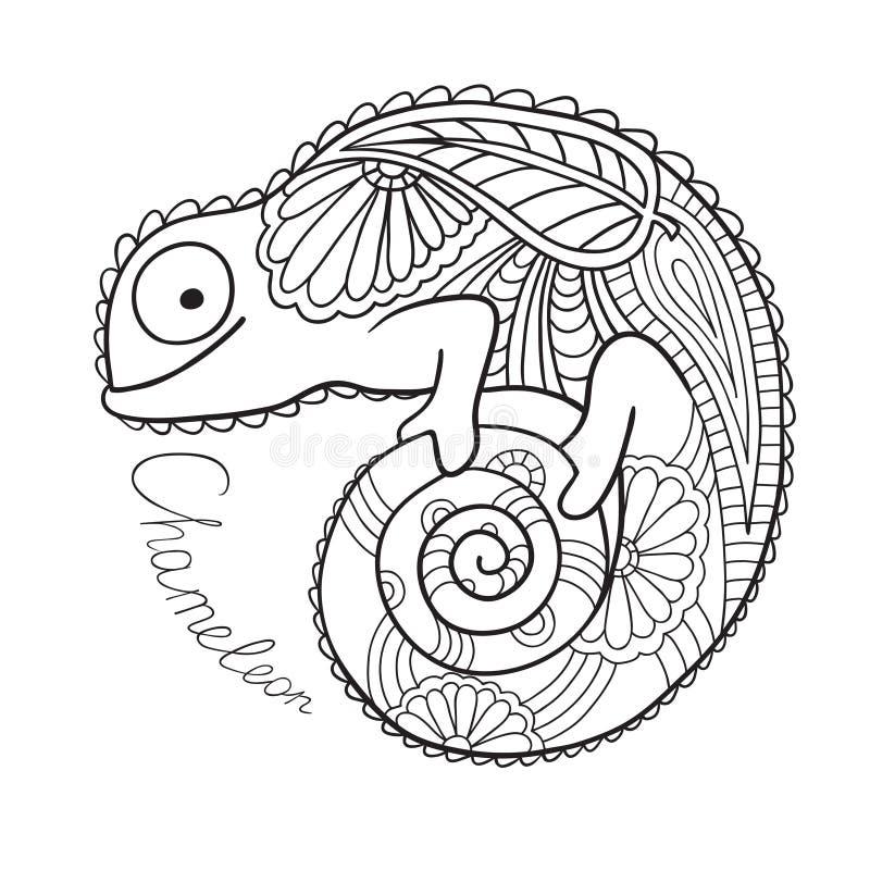 Милый хамелеон в этническом стиле. иллюстрация вектора
