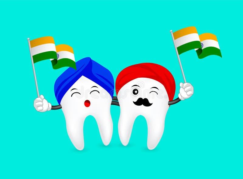 Милый характер зуба шаржа развевая флаг Индии бесплатная иллюстрация