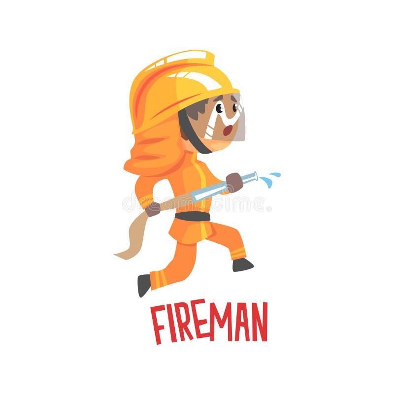 Милый характер пожарного шаржа используя иллюстрацию вектора шланга воды иллюстрация вектора