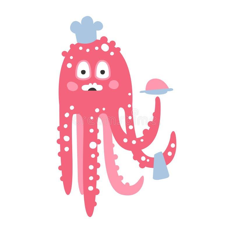 Милый характер шеф-повара осьминога пинка шаржа, смешная иллюстрация вектора кораллового рифа океана животная бесплатная иллюстрация