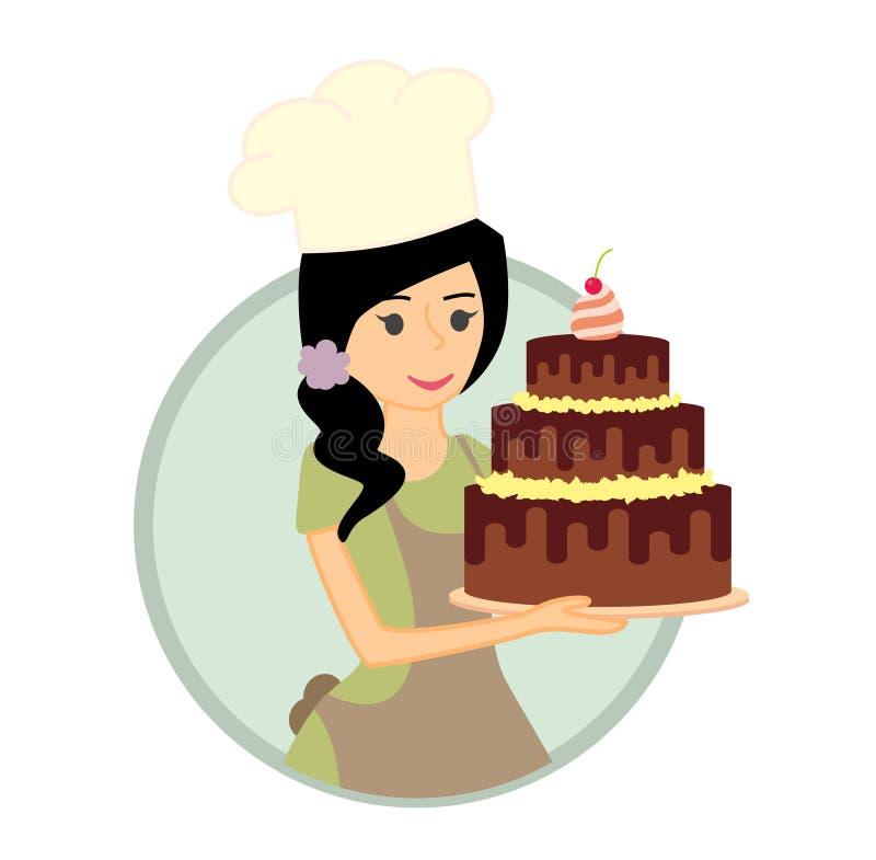 Милый хлебопек девушки или молодой женщины держа очень вкусный шоколадный торт бесплатная иллюстрация