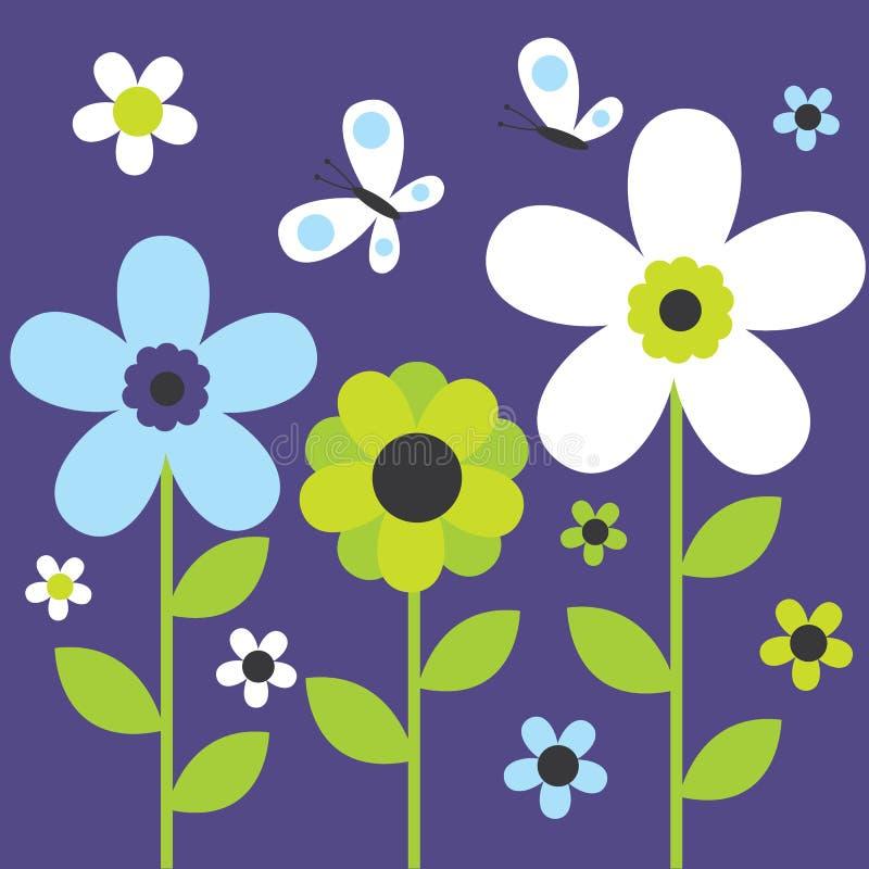 Милый цветок и бабочка иллюстрация штока