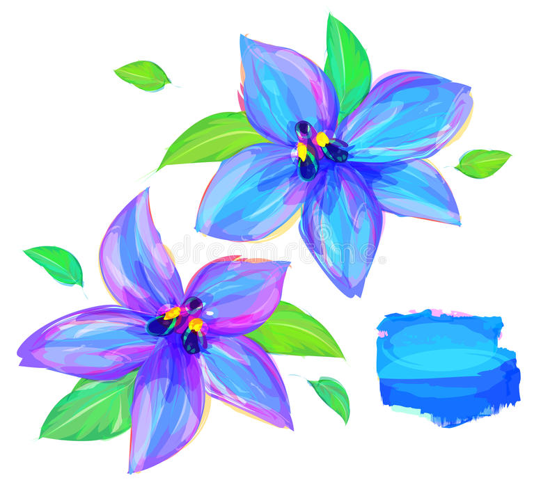 Милый цветок на белой предпосылке иллюстрация вектора