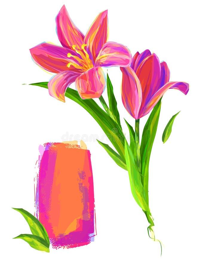 Милый цветок на белой предпосылке иллюстрация штока