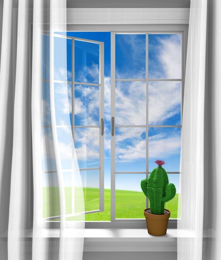 Милый цветя кактус сидя в солнечном окне дома бесплатная иллюстрация