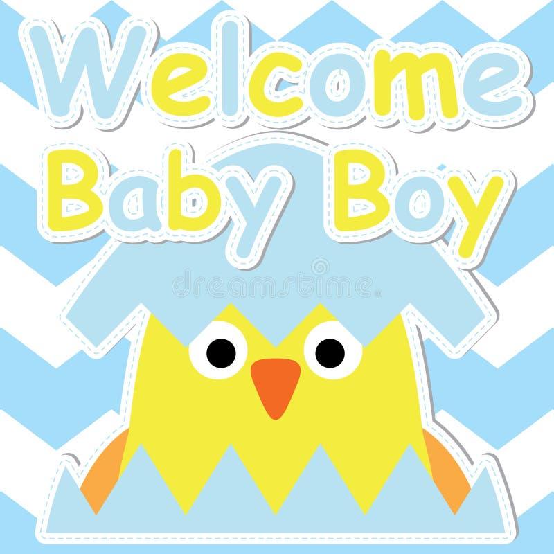 Милый цыпленок в шарже яичка на голубой карточке предпосылки шеврона, открытки детского душа, приветствия и приглашения бесплатная иллюстрация