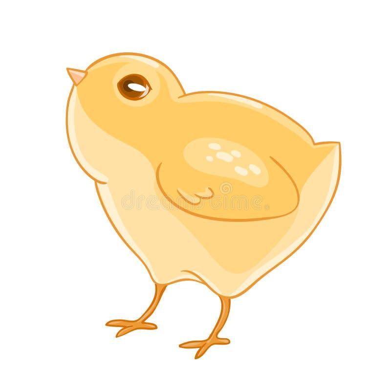 Милый цыпленок желтого цвета шаржа иллюстрация вектора