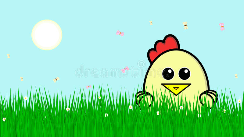 Милый цыпленок снаружи в траве иллюстрация вектора