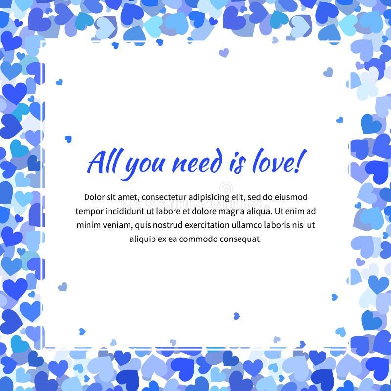 Милый шаблон с много голубых сердец, квадратная иллюстрация бесплатная иллюстрация