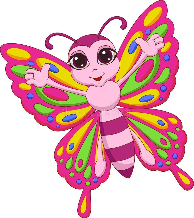 Милый шарж бабочки иллюстрация вектора