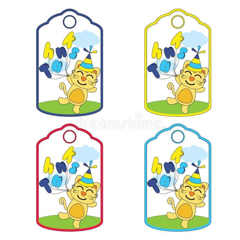 Милый шарж вектора бирок подарка на день рождения с милым котом приносит воздушные шары соответствующие для дизайна бирок дня рож иллюстрация вектора