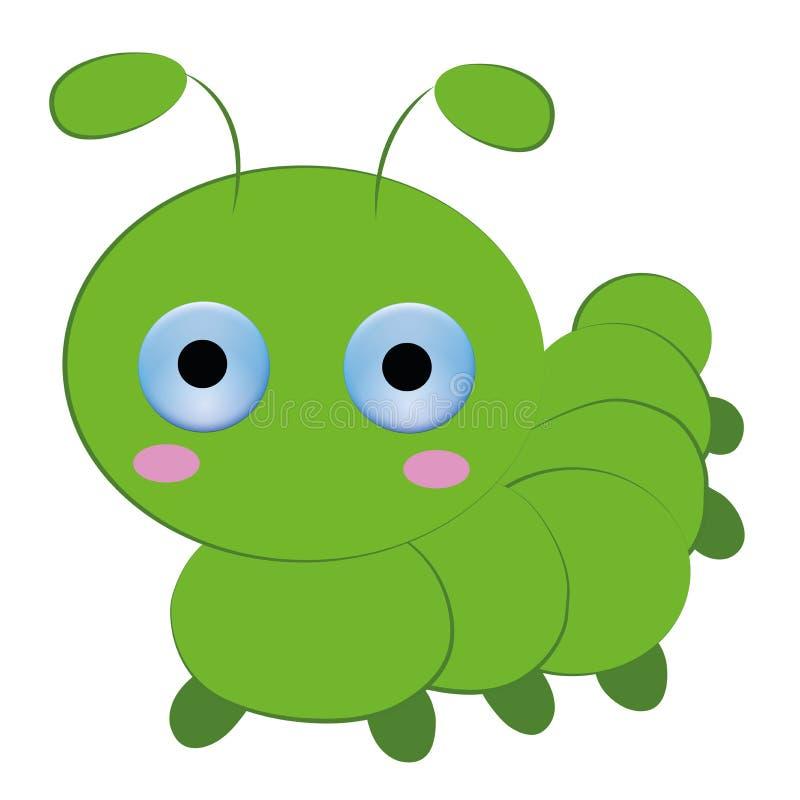 Милый шарж гусеницы на белой предпосылке стоковое фото rf
