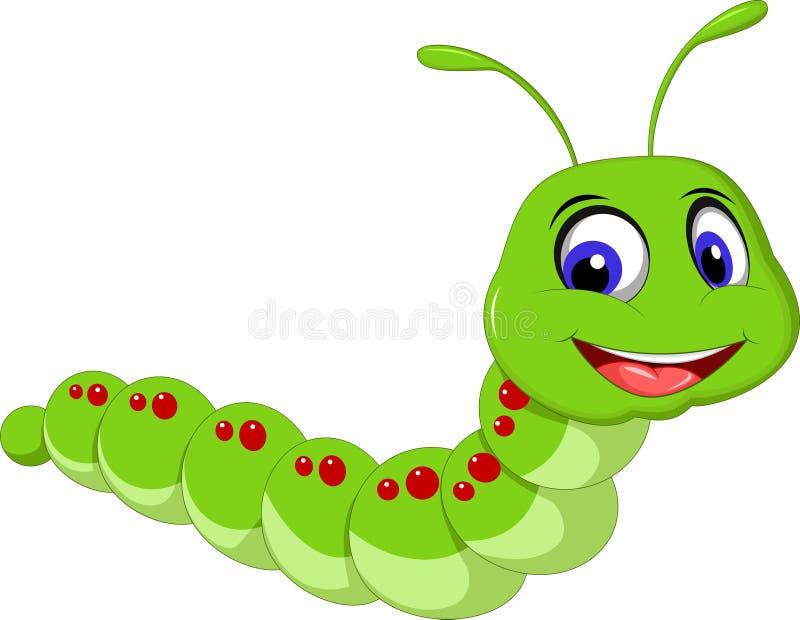 Милый шарж гусеницы иллюстрация вектора