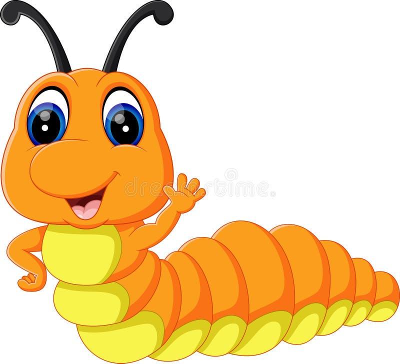 Милый шарж гусеницы бесплатная иллюстрация