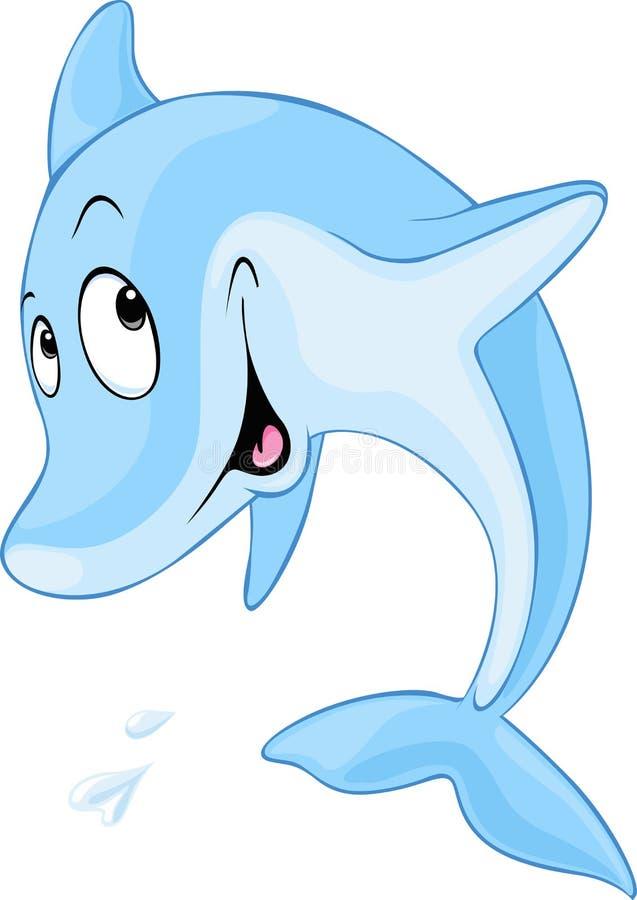 Милый шарж дельфина иллюстрация вектора